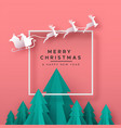 christmas new year card papercut holiday forest vector image