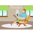 dad sitting in an armchair vector image