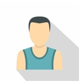 Dark haired man in a vest icon flat style vector image vector image