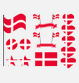 denmark flag set collection of symbols flag vector image vector image