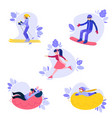 flat people enjoying winter sports set vector image vector image