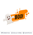 friendly ghost and halloween text vector image