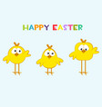 funny yellow chickens in different shapes vector image