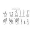 gardening simple bw icon set contains icons such vector image