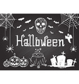 hand drawn halloween on chalkboard vector image vector image