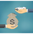 Hands with car and money bag vector image
