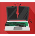 heavily smashed laptop computer vector image vector image
