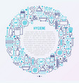 hygiene concept in circle with thin line icons vector image vector image