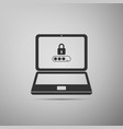 laptop with lock and password form page on screen vector image vector image