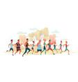 men and women running marathon race on nature vector image