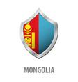 mongolia flag on metal shiny shield vector image vector image