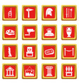 museum icons set red vector image vector image