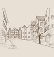 old city street building view cityscape retro vector image vector image