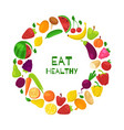 organic healthy fruits and vegetables in circle vector image vector image