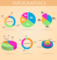 Pie round chart infographics set colorful vector image vector image