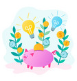 piggy bank saves money and glowing bulbs as a vector image