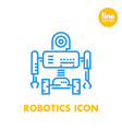 robotics line icon robot mechanical engineering vector image