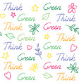 seamless pattern with think green text vector image vector image