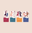 set different colorful posters dancing school vector image