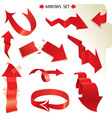 Set of different paper red arrows vector image