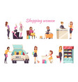 shopping women poster text with ladies set vector image vector image