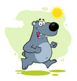 smiling gray bear cartoon character running vector image vector image