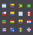 South America flag icon set Metro style vector image vector image