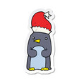 sticker of a cute christmas penguin vector image vector image