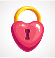 the cartoon lock is a heart shaped vector image vector image