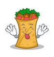Tongue out kebab wrap character cartoon vector image