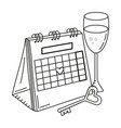 valentines day calendar cartoon vector image
