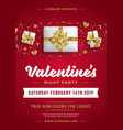 valentines day party flyer or poster design vector image vector image