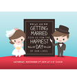 wedding invitation board groom bride cartoon vector image vector image