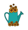 white background with watering can and sunflowers vector image vector image