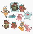 winter animals cartoon set vector image