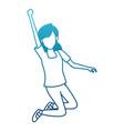 woman happy jumping cartoon vector image vector image