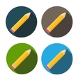 Yellow Pencil Flat Icon with Long Shadow vector image vector image
