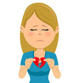 young unhappy sad woman with a broken heart card vector image vector image