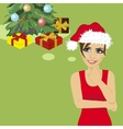 young woman in santa hat thinking about gifts vector image vector image
