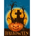 Halloween poster with traditional pumpkin lantern vector image
