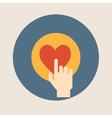 Hand pressing like heart button flat design vector image