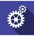 Gear icon with long shadow vector image