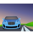Blue sports car traveling on the road to turn vector image