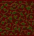 seamless floral dark red damask pattern background vector image