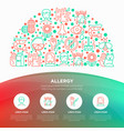allergy concept in half circle with line icons vector image vector image