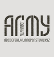 army alphabet gaming stylized military font vector image
