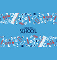back to school card fun highschool doodle icons vector image