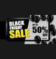 black friday sale banner black balloons vector image vector image