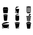 black Trash can icons vector image vector image