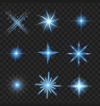 blue shine stars with glitters sparkles icons vector image